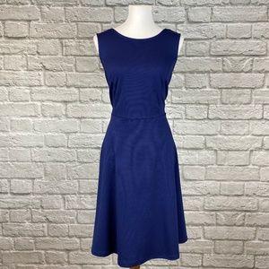 Eloquii Navy Fit & Flare Knit Dress
